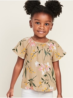 Printed Linen-Blend Top for Toddler Girls