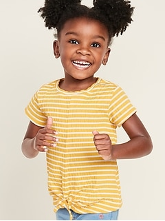 Striped Textured-Knit Tie-Hem Top for Toddler Girls