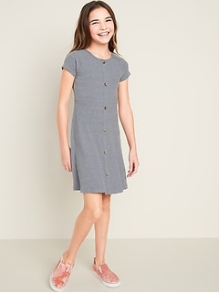 Rib-Knit Faux Button-Front Skater Dress for Girls