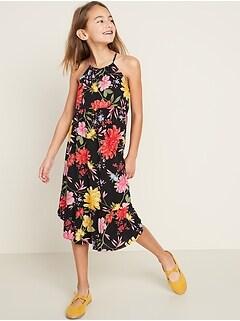 Sleeveless Tulip-Hem Midi Dress for Girls