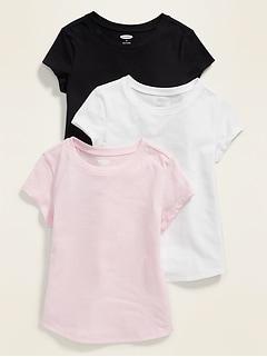 T-shirt long et étroit pour toute-petite fille (paquet de3)