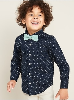 Printed Shirt & Bow-Tie Set for Toddler Boys
