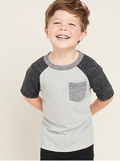 T-shirt ras du cou à poche en tricot grège pour tout-petit garçon