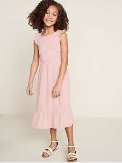 Cinched-Waist Flutter-Trim Dress for Girls
