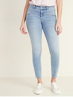 Mid-Rise Seamed-Yoke Rockstar Super Skinny Jeans for Women