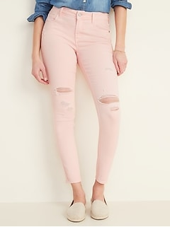 Mid-Rise Distressed Rockstar Pop-Color Super Skinny Jeans for Women