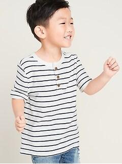 Henley à manches courtes en tricot grège rayé pour tout-petit garçon