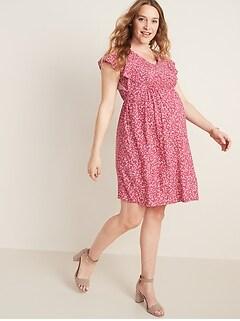 Maternity Waist-Defined Flutter-Sleeve Dress