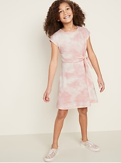French Terry Side-Tie Dress for Girls