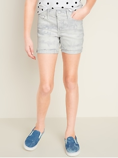 Tie-Dyed Frayed-Hem Jean Midi Shorts for Girls