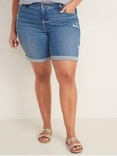 Mid-Rise Secret-Slim Pockets Plus-Size Distressed Bermuda Jean Shorts - 9-inch inseam