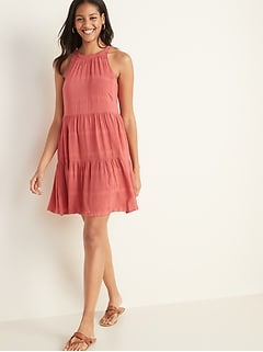 Sleeveless Tiered Swing Dress for Women