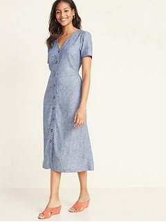 V-Neck Button-Front Linen-Blend Fit & Flare Midi Dress for Women