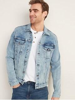 Acid-Wash Built-In Flex Jean Jacket for Men