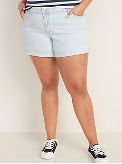Mid-Rise Plus-Size Boyfriend Jean Shorts -- 5-inch inseam