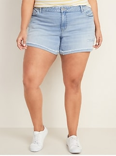 Mid-Rise Distressed Plus-Size Boyfriend Jean Shorts -- 5-inch inseam