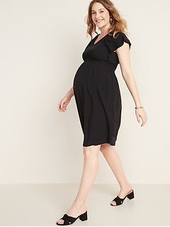 Maternity Waist-Defined Flutter-Sleeve Dress