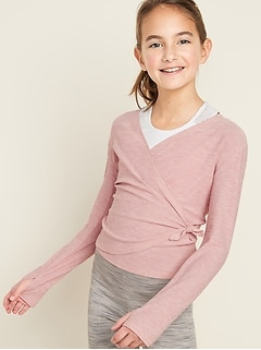Go-Dry Wrap-Front Performance Top for Girls