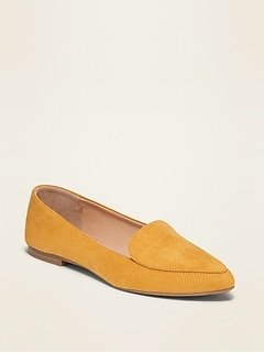 Faux-Suede Pointy-Toe Loafers for Women