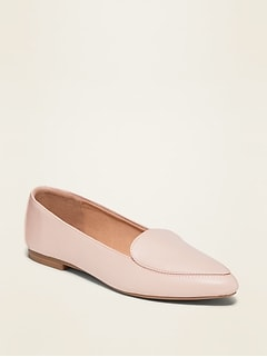 Faux-Leather Pointy-Toe Loafers for Women
