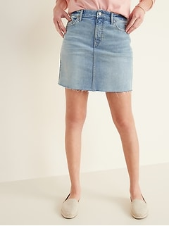 High-Waisted Frayed-Hem Jean Skirt for Women