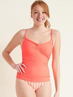 Haut de bikini camisole froncé pour femme