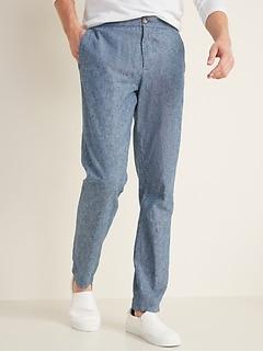 Pantalon à coulisse intérieure en mélange de lin Built-In Flex, coupe étroite pour homme