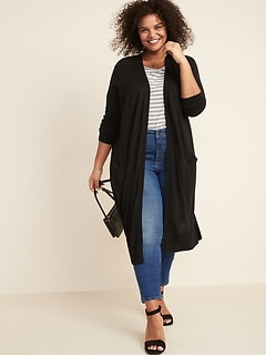 Super-Long Open-Front Plus-Size Sweater