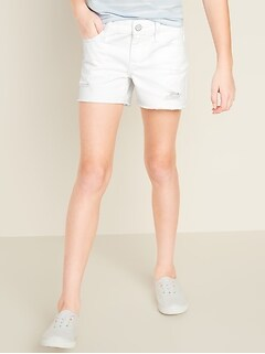 Distressed White Twill Shorts for Girls