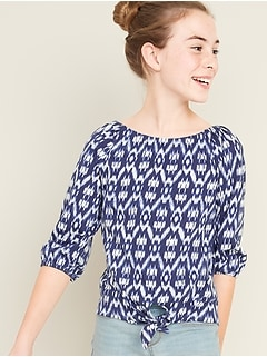 Off-Shoulder Tie-Front Top for Girls