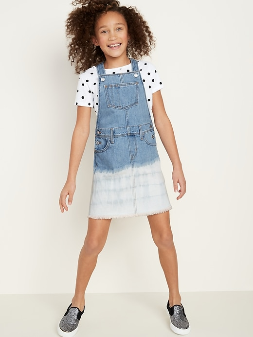 Distressed Raw-Hem Jean Skirtall for Girls
