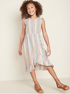 Printed Faux-Wrap Midi Dress for Girls