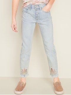 High-Waisted Boyfriend Button-Fly Raw-Hem Jeans for Girls