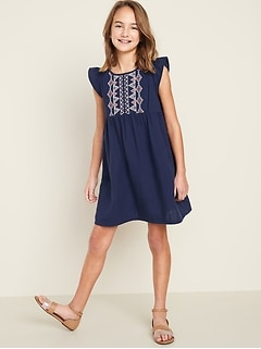 Embroidered Babydoll Swing Dress for Girls