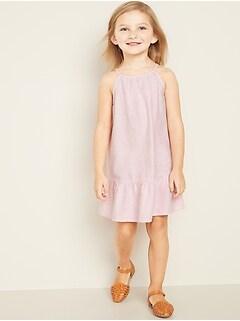 Ruffle-Hem Halter Midi Dress for Toddler Girls