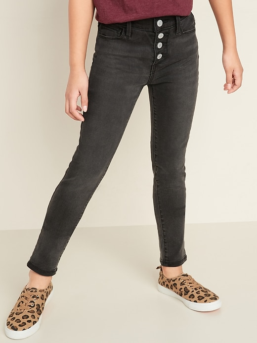 High-Waisted Built-In Tough Rockstar Super Skinny Button-Fly Black Jeggings for Girls