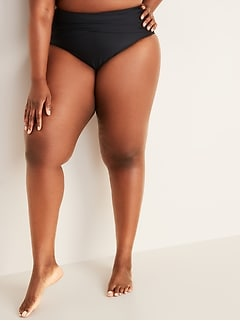 High-Waisted Wrap-Front Secret-Slim Wrap-Front Swim Bottoms