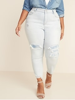 High-Waisted Secret-Slim Pockets Distressed Rockstar Super Skinny Plus-Size Jeans