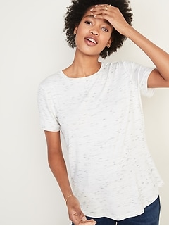 Luxe Space-Dye Crew-Neck Tee for Women
