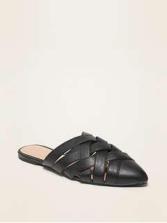 Faux-Leather Braided Mule Flats for Women