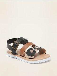 Sandales à brides larges en tissus mixtes pour toute-petite fille
