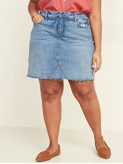 High-Waisted Secret-Slim Pockets Plus-Size Jean Skirt