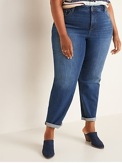Extra High-Waisted Secret-Slim Pockets Boyfriend Straight Plus-Size Jeans