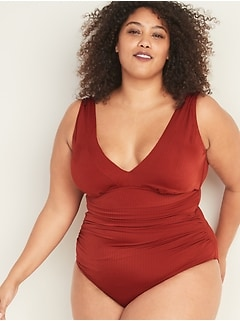 Textured-Rib Secret-Slim Underwire Plus-Size One-Piece Swimsuit