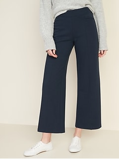 High-Waisted Wide-Leg Ponte-Knit Pants for Women