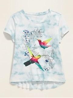 Graphic Tie-Dye Split-Back Tee for Girls