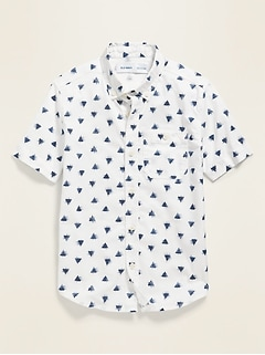 Printed Built-In Flex Short-Sleeve Oxford Shirt for Boys