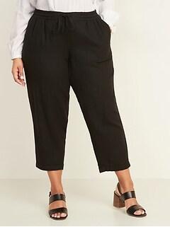 Mid-Rise Linen-Blend Cropped Plus-Size Pants