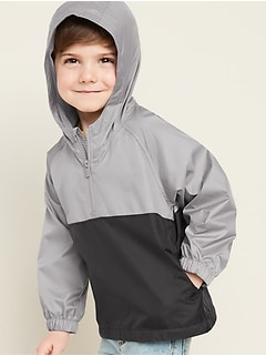 Hooded Color-Blocked Pullover Anorak for Toddler Boys