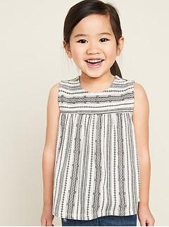 Printed Sleeveless Swing Top for Toddler Girls